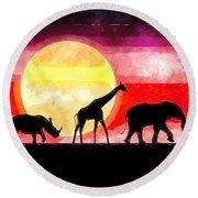Elephant Giraffe Rhinoceros Round Beach Towel