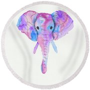 Elephant Head In Watercolour  Round Beach Towel