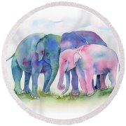 Elephant Hug Round Beach Towel by Amy Kirkpatrick