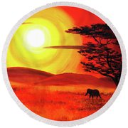 Elephant In A Bright Sunset Round Beach Towel