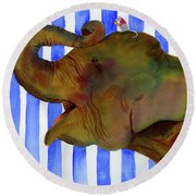 Elephant Joy Round Beach Towel