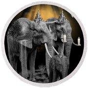 Elephant Kingdom 3 Round Beach Towel