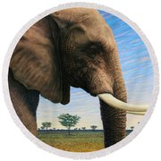 Elephant On Safari Round Beach Towel