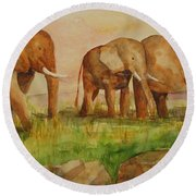 Round Beach Towel featuring the painting Elephant Parade by Vicki  Housel