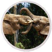Elephant Play Round Beach Towel