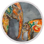 Elephant Play Day Round Beach Towel