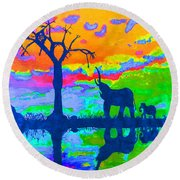Elephant Reflections Round Beach Towel