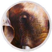Elephant Empathy Round Beach Towel