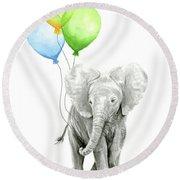 Elephant Watercolor Baby Animal Nursery Art Round Beach Towel