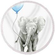 Elephant Watercolor Blue Nursery Art Round Beach Towel
