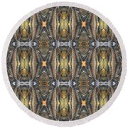 Elephant With Branch Pattern 1 Round Beach Towel