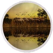 Elephants At Sunset Round Beach Towel by Diane Schuster