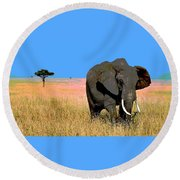 Round Beach Towel featuring the mixed media Elephants by Charles Shoup