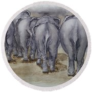 Elephants Leaving...no Butts About It Round Beach Towel
