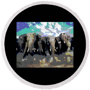 Round Beach Towel featuring the mixed media Elephants On The Move by Charles Shoup