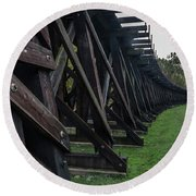 Round Beach Towel featuring the photograph Harpers Ferry Elevated Railroad by Ed Clark