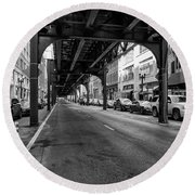 Elevated Train Track The Loop In Chicago, Il Round Beach Towel