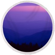 Elevated View Of Valley With Mountains Round Beach Towel