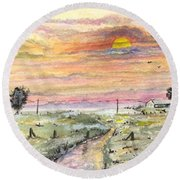 Round Beach Towel featuring the digital art Elevator In The Sunset by Darren Cannell