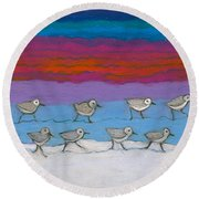 Round Beach Towel featuring the painting Eleven Pipers Piping by Denise Weaver Ross