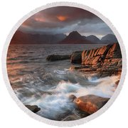 Round Beach Towel featuring the photograph Elgol Stormy Sunset by Grant Glendinning