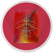 Round Beach Towel featuring the painting Elijah's Whirl Wind  by Alan Johnson