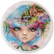 Round Beach Towel featuring the drawing Eliza - Easter Elf - Munhkinz Character by Sheena Pike