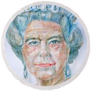 Round Beach Towel featuring the painting Elizabeth II - Watercolor Portrait.2 by Fabrizio Cassetta