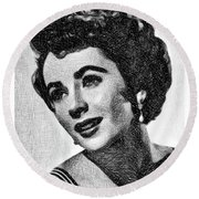 Elizabeth Taylor, Vintage Actress By Js Round Beach Towel