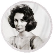 Elizabeth Taylor, Vintage Hollywood Legend By John Springfield Round Beach Towel