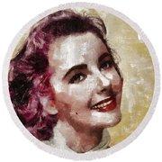 Elizabeth Taylor, Vintage Hollywood Legend By Mary Bassett Round Beach Towel by Mary Bassett
