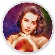 Elizabeth Taylor, Vintage Hollywood Legend Round Beach Towel by Frank Falcon
