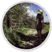 Eliza's Walk In The Countryside. Round Beach Towel