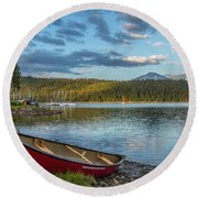 Elk Beach Memories Round Beach Towel