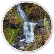 Elk Creek Waterfall Waterscape Art By Kaylyn Franks Round Beach Towel
