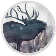 Round Beach Towel featuring the painting Elk by Dawn Derman