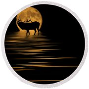Elk In The Moonlight Round Beach Towel by Shane Bechler