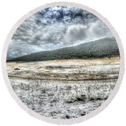 Elk Meado Pano Round Beach Towel