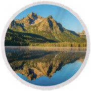Elk Mountain Reflections With Merganser Ducklings Round Beach Towel
