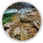 Round Beach Towel featuring the photograph Elk River In The Rain by Thomas R Fletcher
