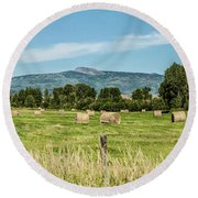 Elk River Valley Harvest Round Beach Towel by Daniel Hebard