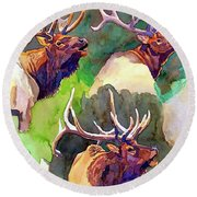 Elk Studies Round Beach Towel