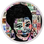 Lady Ella Fitzgerald Round Beach Towel by Everett Spruill