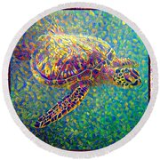 Ella The Turtle Round Beach Towel by Erika Swartzkopf