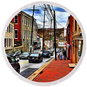 Ellicott City Sidewalk Round Beach Towel