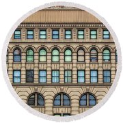 Ellicott Square Building Buffalo Ny Ink Sketch Effect Round Beach Towel