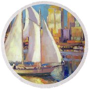 Elliot Bay Round Beach Towel