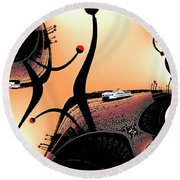 Elliott Bay Ferry Fractal Round Beach Towel