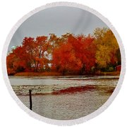 Round Beach Towel featuring the photograph Elmer Lake In Autumn by Ed Sweeney