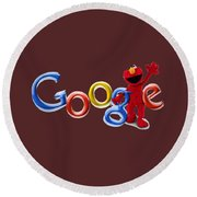 Elmo Google T-shirt Round Beach Towel